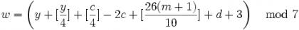 蔡勒公式 - 1582年以前