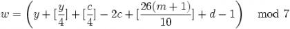 蔡勒公式 - 1582年以后