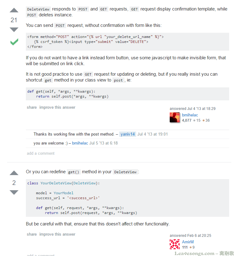 Django DeleteView without confirmation template, but with